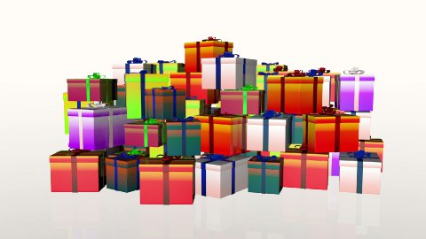 Magically piling up gift boxes, against white  - stock footage