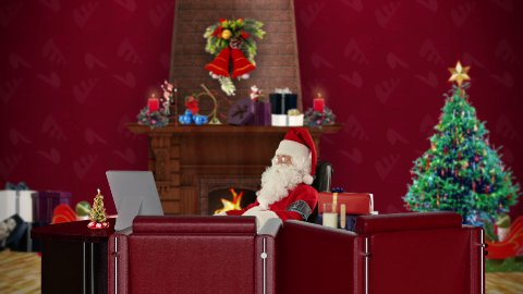 Santa Claus having a migraine is checking blood pressure, office with Christmas decorations