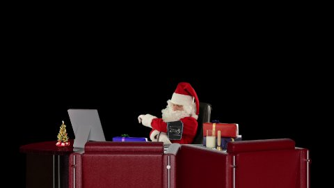 Santa Claus at work checking blood pressure, against black
