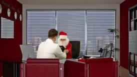 Santa Claus at Doctor, measuring blood pressure