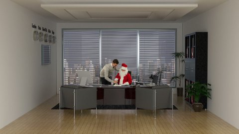 Santa Claus and Businessman signing a contract