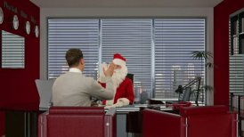 Santa Claus signing a contract with a Young Businessman  - motion graphic