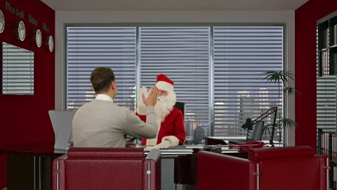 Santa Claus signing a contract with a Young Businessman  - stock footage