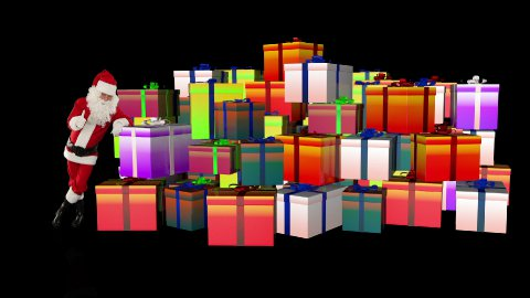 Santa Claus magically piling up gift boxes, against black  - stock footage