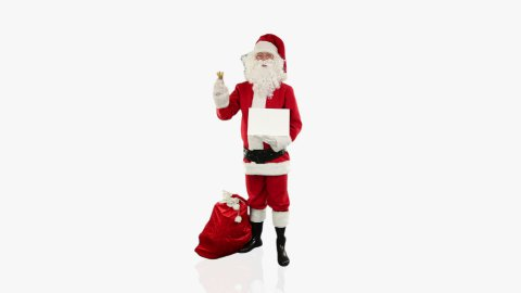 Santa Claus shaking bell presenting a white sheet   - stock footage