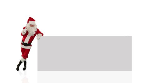 Santa Claus pointing to a white board, against white  - stock footage