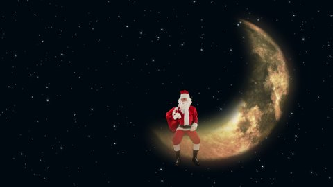 Santa Claus sitting on Moon and waiting for Reindeer, twinkling stars  - stock footage