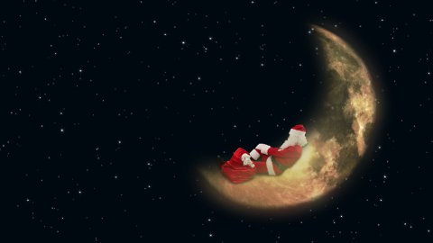 Santa Claus resting on Moon and waiting for Reindeer  - stock footage