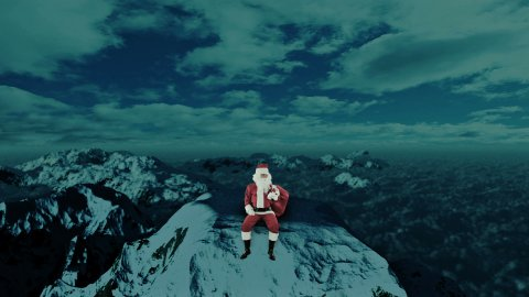 Santa Claus on top of Snowy Mountain looking for the Reindeer  - stock footage