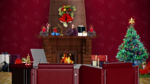 Office with Christmas decorations, seamless loop  - stock footage