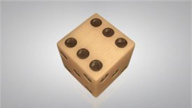 3D wood dice turn around 03 - motion graphic