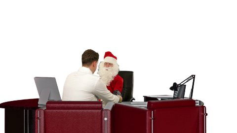 Santa Claus is sick, Doctor measuring blood pressure and giving bad news, against white - stock footage