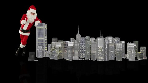 Santa Claus magically building a modern city, against black - stock footage