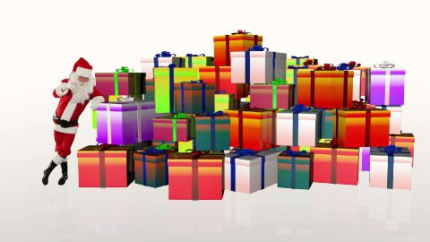 Santa Claus magically piling up gift boxes, against white - stock footage