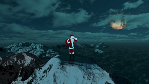 Santa Claus on Top of the Mountain looking for the Reindeer - stock footage