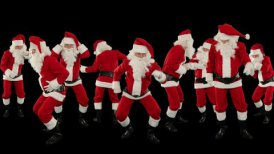 Bunch of Santa Claus Dancing Against Black, Christmas Holiday Background - editable clip, motion graphic, stock footage