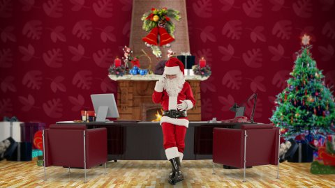 Santa Claus on mobile in his modern Christmas Office - stock footage
