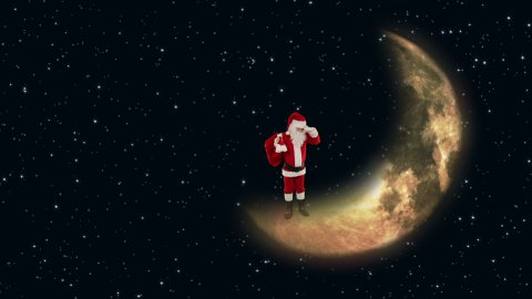 Santa Claus on Moon waiting for Reindeer with twinkling stars - stock footage