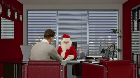 Santa Claus is signing a contract with a Young Businessman - stock footage
