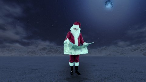Santa Claus in the middle of nowhere trying to find his way on a map - stock footage