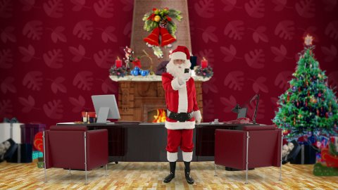 Santa Claus talking on mobile in his modern Christmas Office - stock footage
