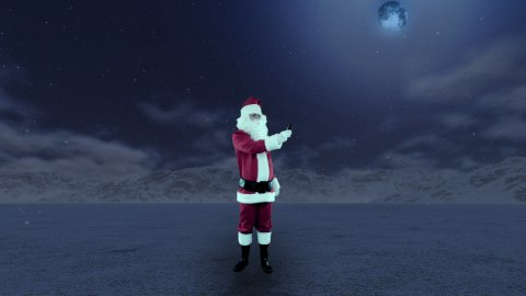 Santa Claus in the middle of nowhere trying to get signal on mobile - stock footage