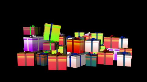 Magically piling up gift boxes, against black - stock footage