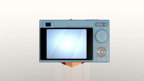 Gift box opening lid to present a digital camera, against white with Alpha Matte - stock footage