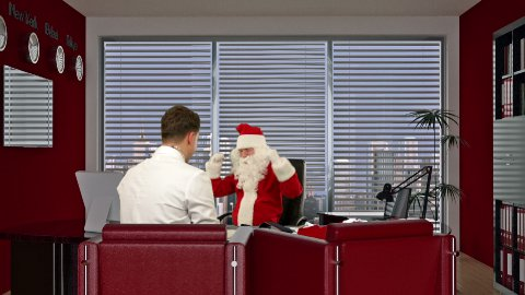 Santa Claus is strong and healthy, Doctor measuring blood pressure - stock footage