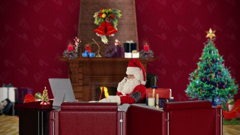 Santa Claus checking blood pressure and talking on mobile to his doctor, office with Christmas decorations - stock footage