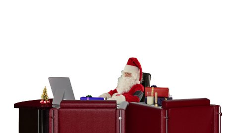 Santa Claus at work checking blood pressure, against white - stock footage