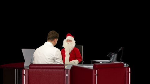 Santa Claus is sick, Doctor measuring blood pressure and giving bad news, against black - stock footage