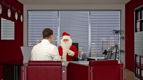 Santa Claus is sick, Doctor measuring blood pressure and giving bad news - stock footage
