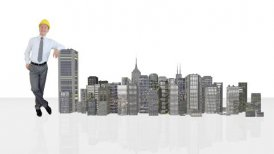 Architect Generating Office Buildings against white - motion graphic