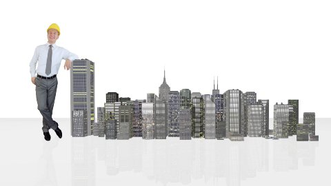 Architect Generating Office Buildings against white - stock footage