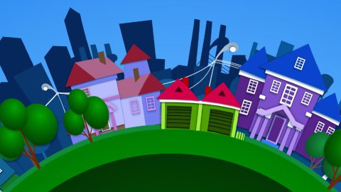 animation city  - stock footage