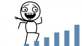 happy man and good statistics loop cartoon - motion graphic