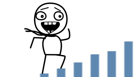 happy man and good statistics loop cartoon - stock footage