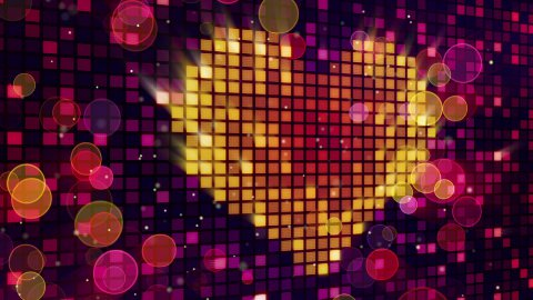 heart shape on digital screen and lights seamless loop - stock footage
