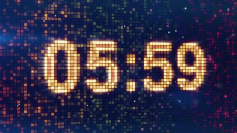 digital alarm clock display animation - stock footage
