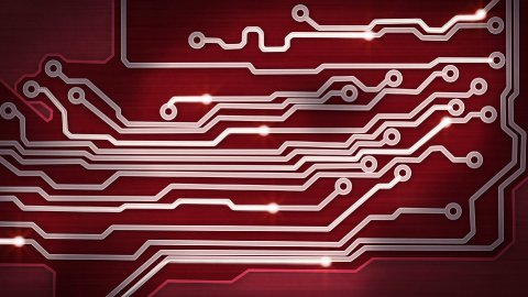 red circuit board providing signals loop hi-tech background - stock footage