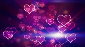 glowing neon hearts seamless loop background - motion graphic