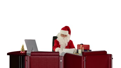 Santa Claus reading letters, against white - stock footage