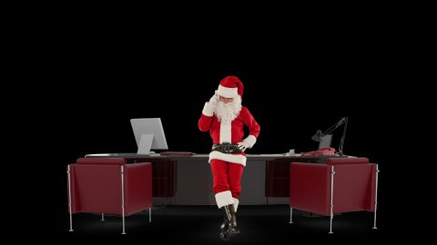 Santa Claus on mobile in his modern Christmas Office, against black - stock footage