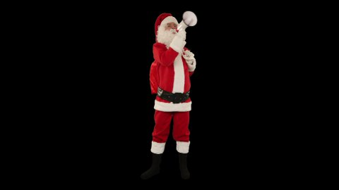 Santa Claus with a loudspeaker making an announcement, front view, against black - stock footage