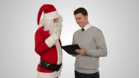 Santa Claus and Young Businessman against white - motion graphic