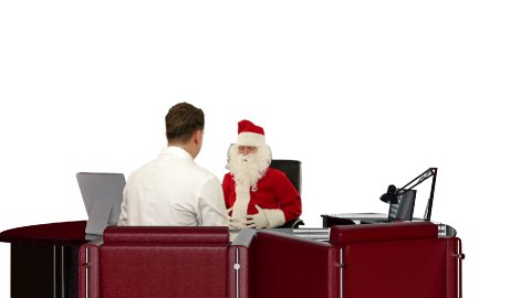 Santa Claus is sick, Doctor measuring blood pressure, against white - stock footage