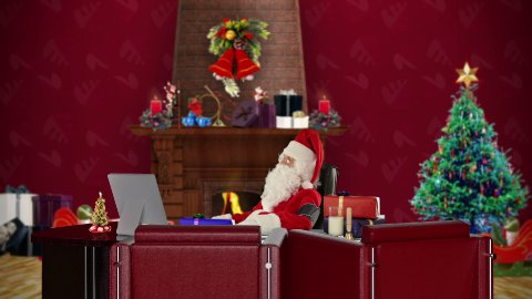 Santa Claus at work checking blood pressure, office with Christmas decorations - stock footage