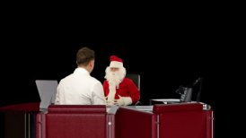 Santa Claus is sick, Doctor measuring blood pressure, against black - editable clip, motion graphic, stock footage