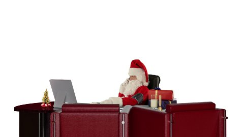 Santa Claus checking blood pressure and talking on mobile to his doctor, against white - stock footage